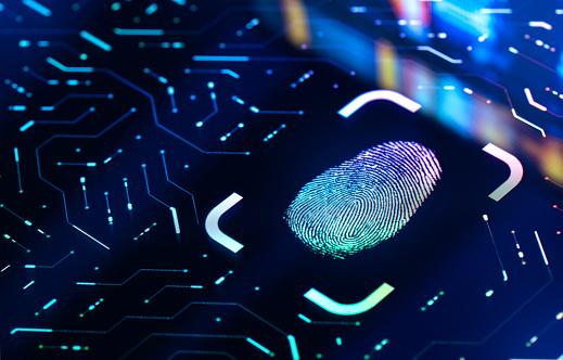 Touch Screen「Fingerprint Biometric Authentication Button. Digital Security Concept」:スマホ壁紙(1)