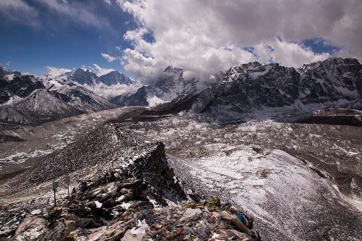 Khumbu「Everest range panorama view to the west from Kala Patthar, Gorak Shep, Everest Base Camp Trek, Nepal」:スマホ壁紙(12)