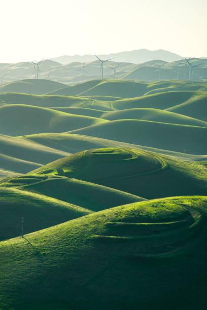 Wind Turbines in rolling landscape, Livermore, Brushy Peak Regional Preserve, California, America, USA:スマホ壁紙(壁紙.com)