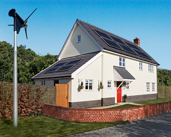 Environmental Conservation「Wind turbine and solar panels on eco-house (digital composite)」:写真・画像(3)[壁紙.com]
