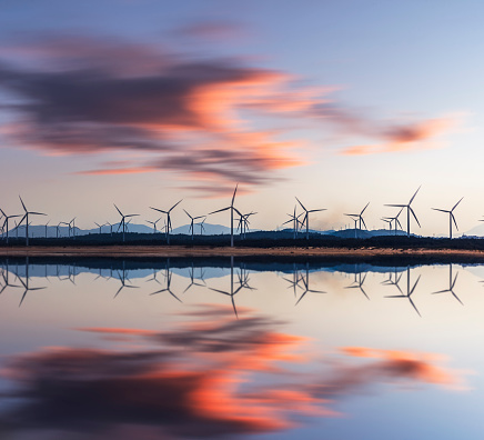 Sunset sea「wind turbine and electrical towers on sunset」:スマホ壁紙(9)