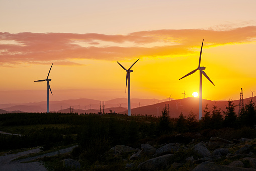 Generator「Wind Turbines at Sunrise in Golden Sky」:スマホ壁紙(12)