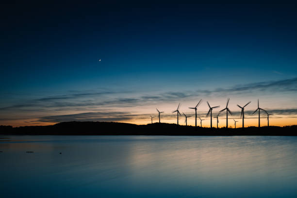 Wind turbines motion landscape sunset:スマホ壁紙(壁紙.com)