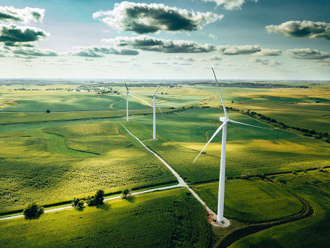 Mill「wind turbine farm aerial view」:スマホ壁紙(14)