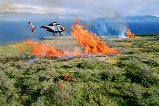 Deforestation「Close-up aerial of Hughes 500D helicopter flying towards fire of enormous pile of burning dead tree branches near Kahoolawe; Maui, Hawaii」:スマホ壁紙(11)