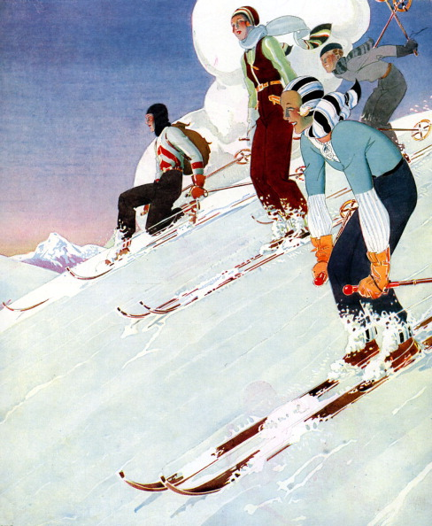 絵「Young people skiing,  1930s」:写真・画像(13)[壁紙.com]