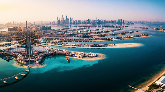 Middle Eastern Culture「The Palm island panorama with Dubai marina in the background aerial」:スマホ壁紙(15)