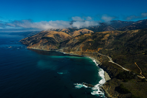 California State Route 1「Big Sur road and coastline aerial view road trip.」:スマホ壁紙(14)