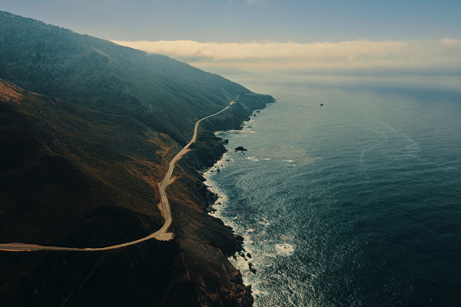 California State Route 1「Big Sur road and coastline aerial view road trip.」:スマホ壁紙(5)