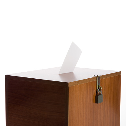 Polling Place「Ballot Box With Envelope And Padlock On White Background」:スマホ壁紙(8)