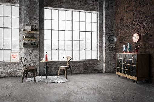 Old-fashioned「Cozy Industrial Style Interior」:スマホ壁紙(8)