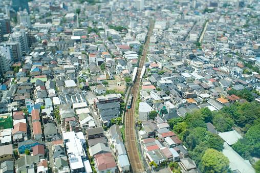 Tokyo - Japan「Bird's-eye view of a residential area」:スマホ壁紙(6)