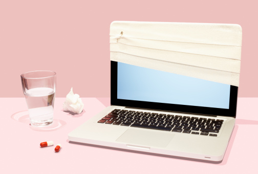 Problems「Sick laptop with bandage and pills.」:スマホ壁紙(8)