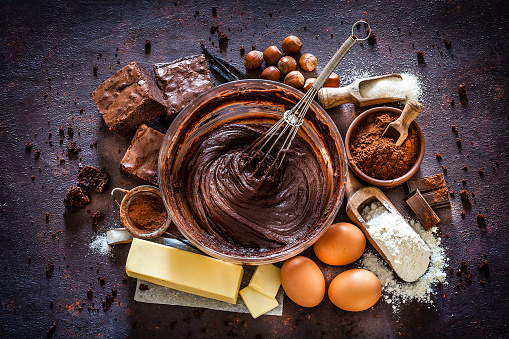 Dessert「Chocolate brownie ingredients on kitchen table」:スマホ壁紙(10)