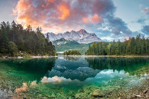 Tree「Mountain peak Zugspitze Summer day at lake Eibsee near Garmisch Partenkirchen. Bavaria, Germany」:スマホ壁紙(8)
