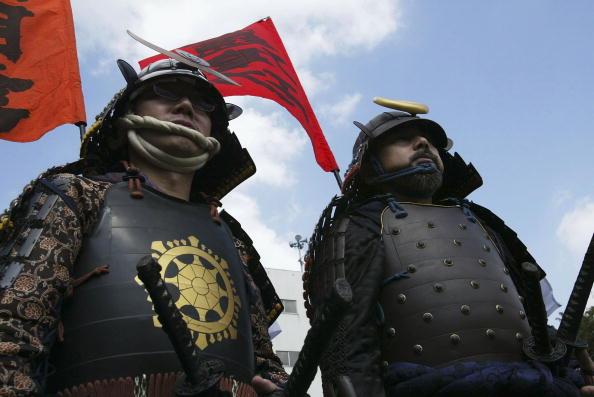 戦国武将「Japanese Harquebusiers and Samurai re-enact a battle scene」:写真・画像(13)[壁紙.com]