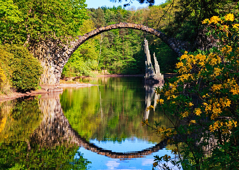 Saxony「Arch Bridge (Rakotzbrucke) in Kromlau, Germany」:スマホ壁紙(11)