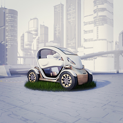 Digitally Generated Image「Small eco-friendly car on pad of grass in futuristic city」:スマホ壁紙(16)