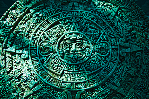 Ancient Civilization「Green Aztec calendar stone carving」:スマホ壁紙(9)