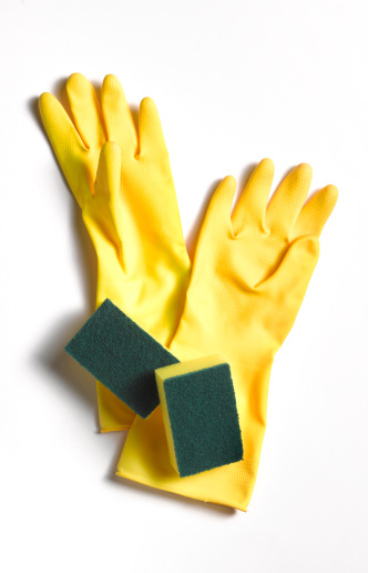 Protective Glove「Yellow rubber gloves and scourer」:スマホ壁紙(0)