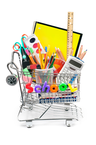 Buy - Single Word「Back to School Shopping Cart with Supplies on White Background」:スマホ壁紙(7)
