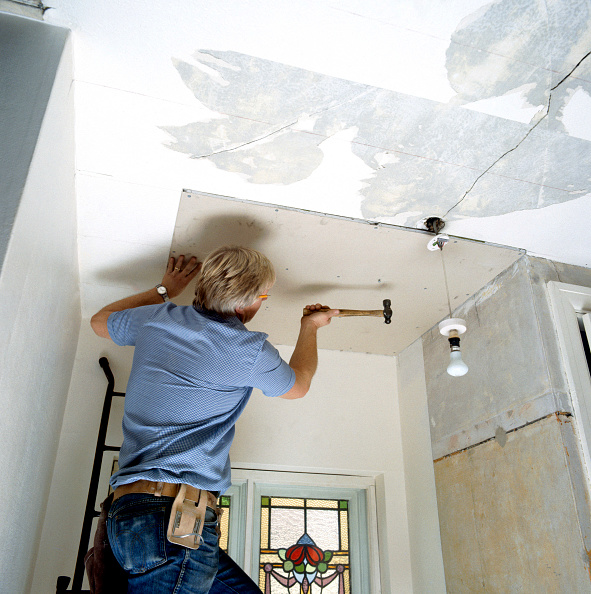 Home Improvement「Fixing plasterboard on a ceiling」:写真・画像(1)[壁紙.com]