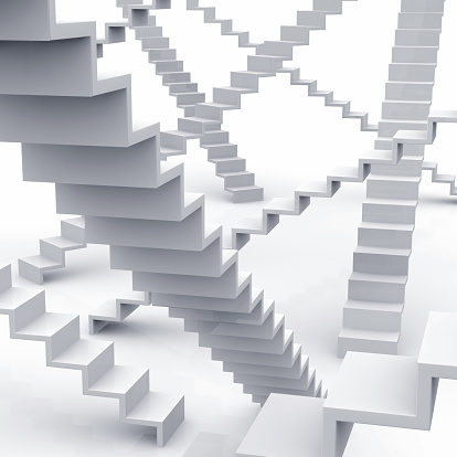 Staircase「Stairs, Steps, Staircases everywhere on white」:スマホ壁紙(4)