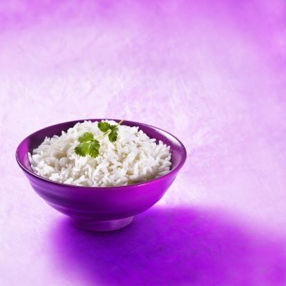 Basmati Rice「Bowl of basmati rice with fresh coriander leaf」:スマホ壁紙(0)