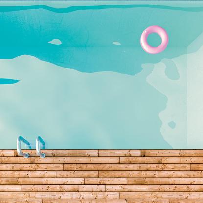 プール「3D Rendering, Swimming pool, ladder and floating tire」:スマホ壁紙(12)