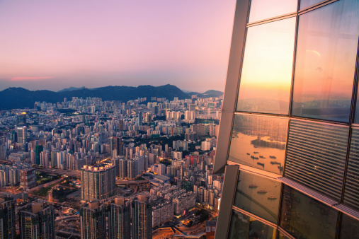 2013「City skyline at sunset, view from skyscraper」:スマホ壁紙(9)