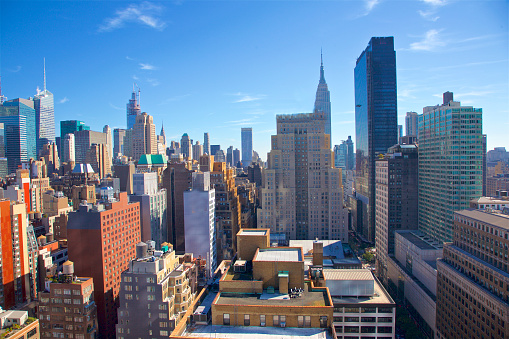 Rooftop「Dense residential and commercial towers of Midtown West seen from high up, New York City」:スマホ壁紙(1)