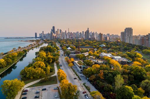 秋「リンカーンパークの秋の色 - シカゴ」:スマホ壁紙(16)