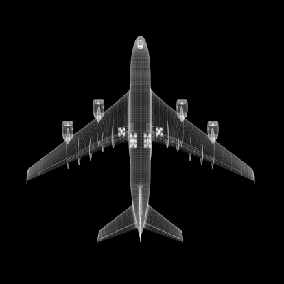 Clip Art「Airplane Wireframe」:スマホ壁紙(2)