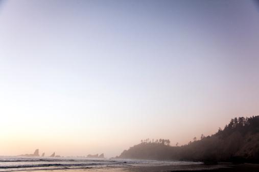 Cannon Beach「A landscape of the Oregon Coast with fog.」:スマホ壁紙(6)