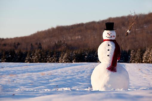 Snowman「Landscape of line snowman in the morning」:スマホ壁紙(15)