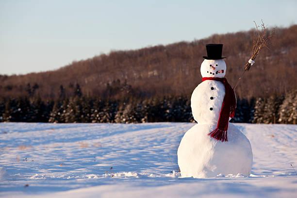 Landscape of line snowman in the morning:スマホ壁紙(壁紙.com)