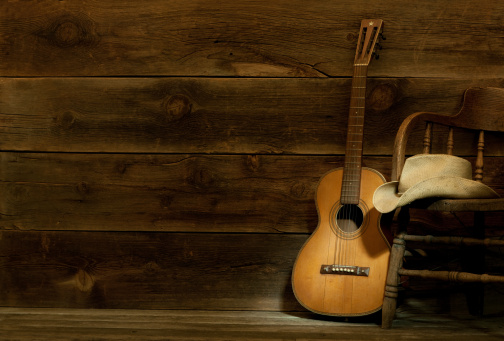 Country and Western Music「Country and Western Music scene w/chair,hat,guitar-barnwood background」:スマホ壁紙(1)