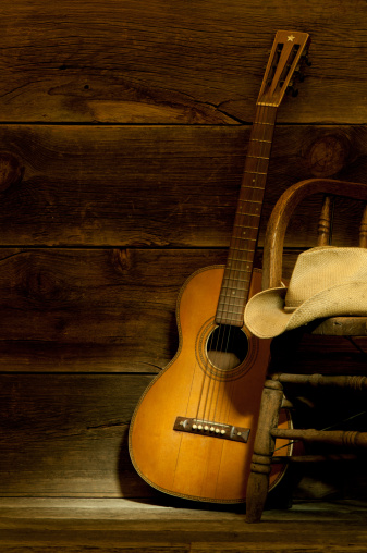 Country and Western Music「Country and Western scene w/ guitar,chair,cowboy hat-barnwood background」:スマホ壁紙(12)