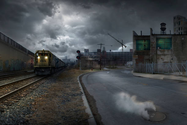 Train on train tracks in dilapidated industrial city:スマホ壁紙(壁紙.com)