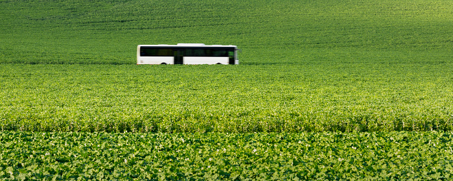 Bus「Commiter Bus driving through agricultural field」:スマホ壁紙(19)