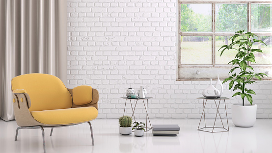 Yellow「Yellow colored armchair with coffee table, flowers and blank wall template」:スマホ壁紙(10)