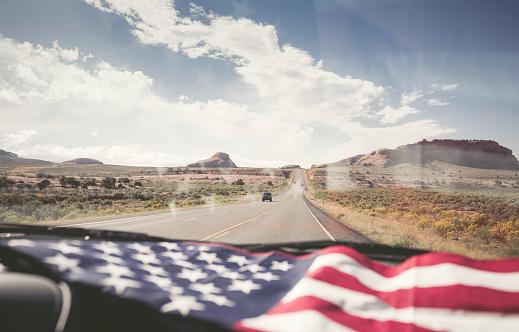 Patriotism「USA, Utah, American Flag lying on dashboard」:スマホ壁紙(4)