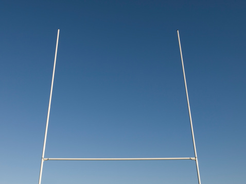 Wooden Post「Rugby Goalposts against Blue Sky」:スマホ壁紙(10)