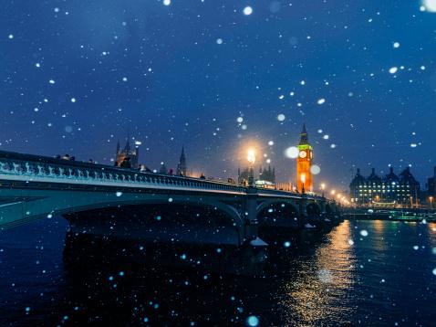 Snow scene「Westminster Bridge and Big Ben in snow, London,UK」:スマホ壁紙(9)