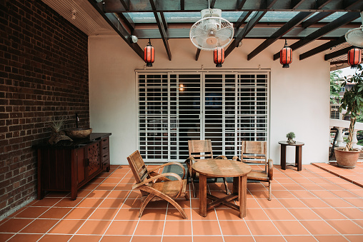 Lunar New Year;「Relaxation place on top of the house with nice simple decoration, big space, gathering」:スマホ壁紙(1)