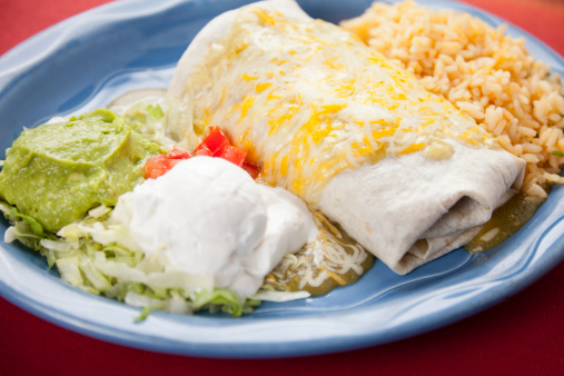 Sour Cream「Mexican food: plate with burrito and cilantro rice」:スマホ壁紙(15)