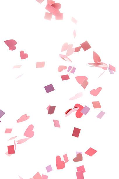 ピンク、パープル、赤のコンフェティハートと広場:スマホ壁紙(壁紙.com)