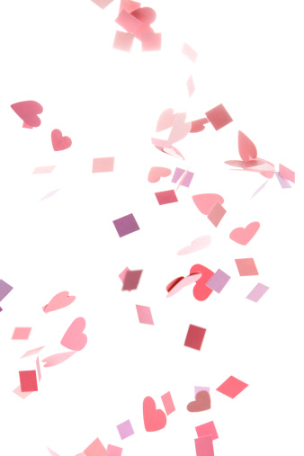 ハート「ピンク、パープル、赤のコンフェティハートと広場」:スマホ壁紙(10)
