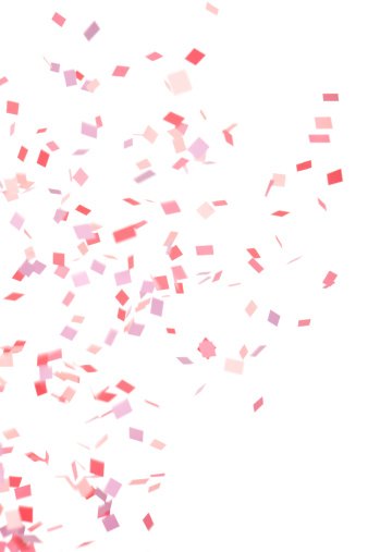 Pink Color「Pink, Purple and Red Confetti Falling, Isolated on White」:スマホ壁紙(19)