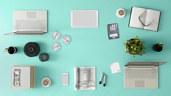 最上部「Knolling チームのオフィスのテーブルの上から見る」:スマホ壁紙(0)